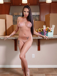 Round Assed Busty Babe Raven Bay Strips In The Kitchen