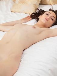 Brunette Beauty Adel Morel Nude On A Bed