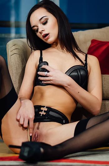 Slim Brunette Lea Guerlin In Sexy Black Lingerie