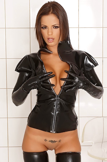 Sexy Black Angelica Posing In Latex