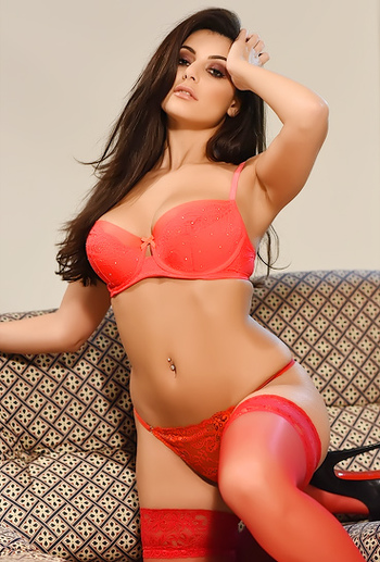 Charley Teasing In Her Red Lingerie