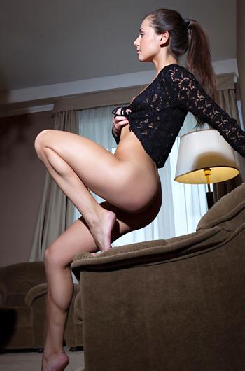 Horny Brunette Girl Astrud Gets Naked