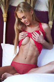 Slim Beauty Nancy In Sexy Red Panties